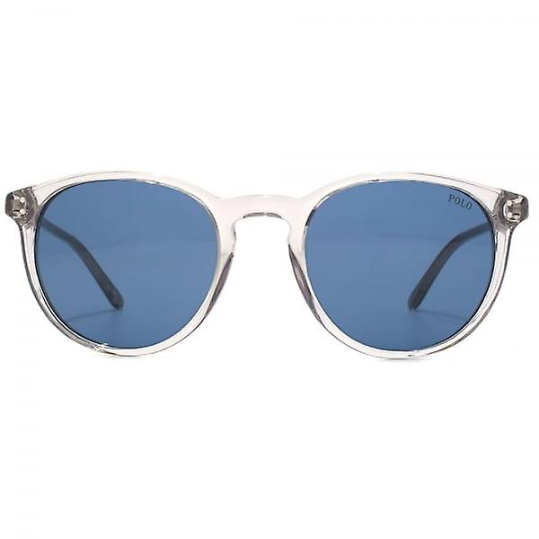 Polo Ralph Lauren Keyhole Round Sunglasses In Shiny Transparent Grey