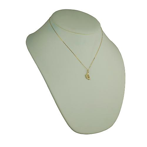 9ct Gold 13x8mm Harp Pendant with a curb Chain 18 inches