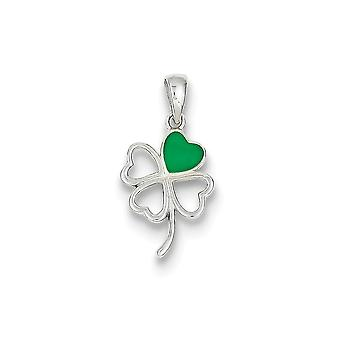 925 Sterling Silver Green Enamel Four Leaf Clover Charm Pendant - 24mm