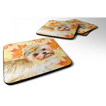 Carolines Treasures  BB9929FC Set of 4 Morkie Fall Foam Coasters Set of 4
