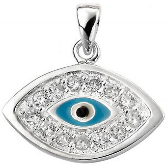 Beginnings Cubic Zirconia Evil Eye Charm Pendant - Silver/Blue/Clear