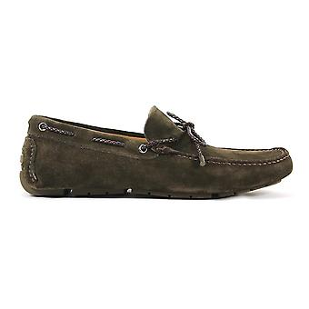 Triver flight mens 99902 green suede moccasins