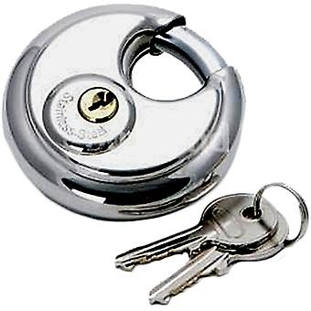 Round Discus Padlock With Keys Heavy Duty Stainless Steel – Supplied with 2 Keys