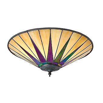 Interiors 1900 70240 Dark Star 2 Light Flush Ceiling Fixture With Tiff