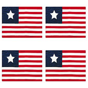 USA Flag Red White and Blue Patriotic Cotton Quilted 18 Inch Placemats Set of 4