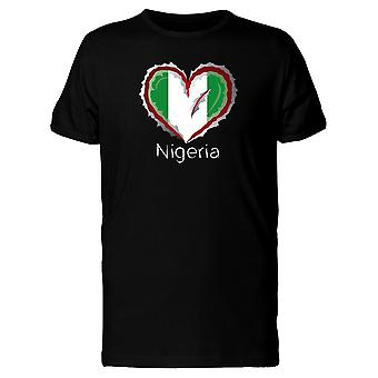 Nigeria Scratched Flag Heart Tee Men's -Image by Shutterstock