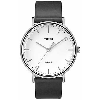 Timex Fairfield 41mm Black Leather Strap/White Dial TW2R26300 Watch