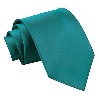 Teal-Plain Satin Extra lange Krawatte