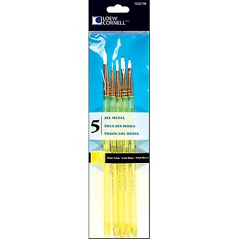White Nylon Craft Brush Set-5/Pkg