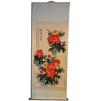 Asia painting on rice paper, 196x72 cm flowers