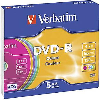 Verbatim 43557 Blank DVD-R 4.7 GB 5 pc(s) Slim case Colour