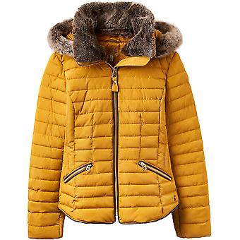 Joules Womens Gosling Padded Faux Fur Collar Coat