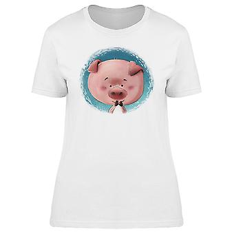 Happy Pig Blue Background Tee Women's -Image by Shutterstock