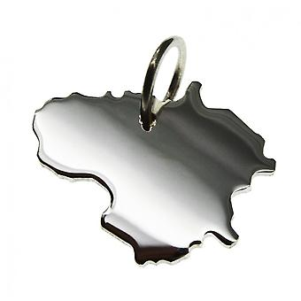 Trailer map Lithuania pendant in solid 925 Silver