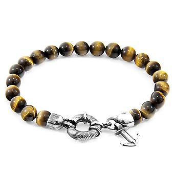Anchor & Crew Brown Tigers Eye Port Silver and Stone Bracelet
