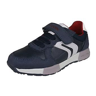 Geox J Alfier B.C Boys Leather Casual Trainers / Shoes - Navy