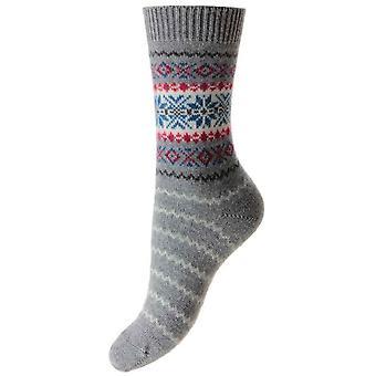 Calcetines de lujo Cachemira Pantherella Betty copo de nieve - franela gris
