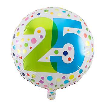 Folie ballong bursdag tallet 25 rainbow prikker ca 45 cm