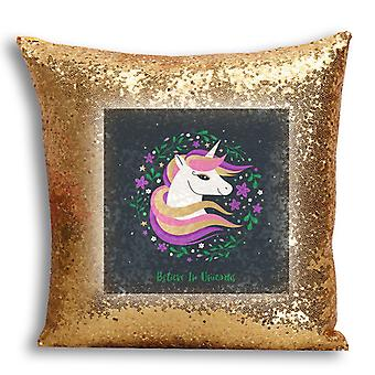 i-Tronixs - Unicorn Printed Design Gold Sequin Cushion / Pillow Cover for Home Decor - 10