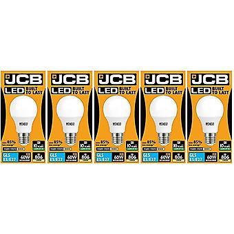 5 X JCB LED GLS Opal (Frosted) Household Light Bulb 10w Edison Screw 3000k Warm White[Energy Class A+]
