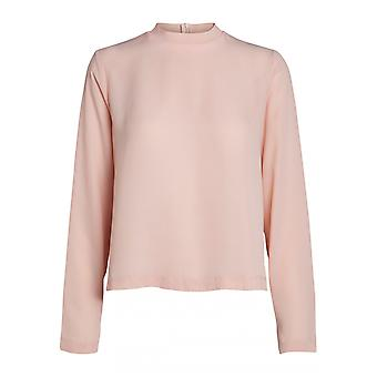 pieces loosely falling ladies chiffon long sleeved blouse transparent pink