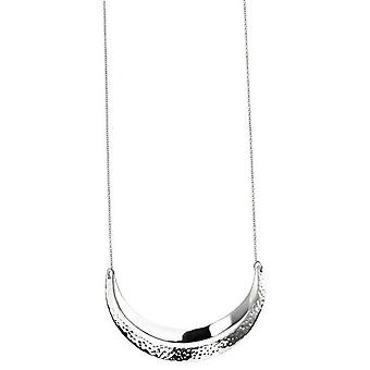 Beginnings Double Curved Bar Hammered Necklace - Silver
