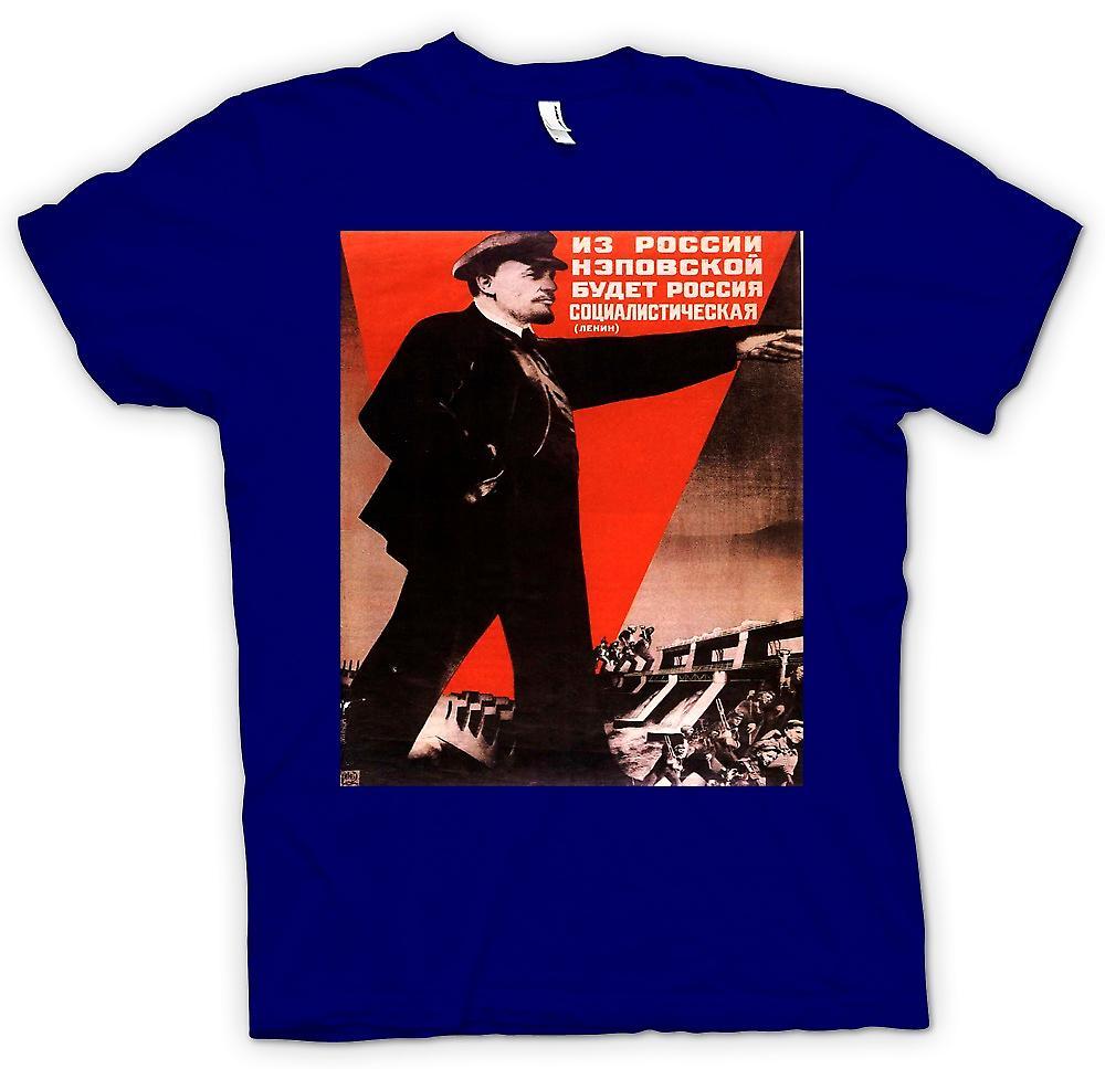 Heren T-shirt-Lenin Russische Propaganda Poster