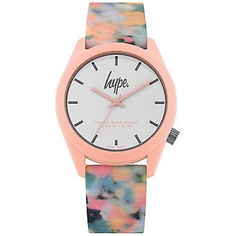 Hype   Pink Multi-Colour Silicone Strap   White Dial   HYU009PU Watch