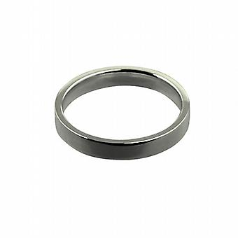 18ct White Gold 3mm plain flat Court shaped Wedding Ring Size I