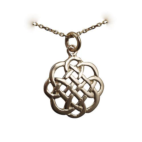 9ct Gold 20x21mm celtic knot design Pendant with a bright cut cable link chain