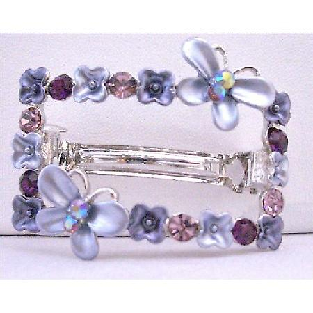 Purple Crystals Flower Butterfly Rectangular Amethyst Hair Barrette
