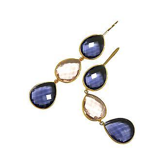 Gemshine øreringe blå tansanite og rosenkvarts dråbe 925 sølv eller forgyldt