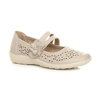 Ajvani womens vlakke greep enige gecapitonneerde kussens mary jane haak & lus comfort schoenen