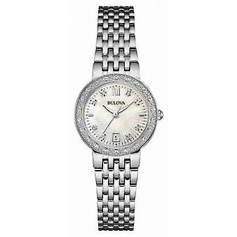 Bulova Womens Stainless Steel Diamond Set 96W203 quadrante bianco