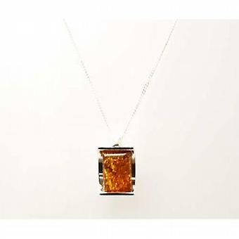 Toc Sterling Silver Arch Shaped Amber Pendant on 18 Inch Chain