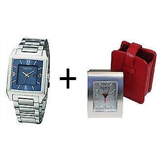 Kenneth Cole Gents cadran bleu calendrier Dress Watch KC3742 & réveil Gift Set