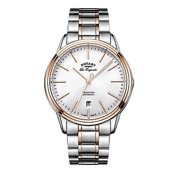 Rotary Mens Quartz White Dial Analogue Display and Two Tone Stainless Steel