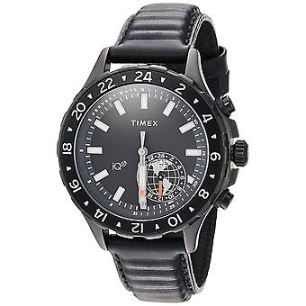 Timex Mens IQ+ Move Multi-Time Black Leather Strap Watch TW2R39900