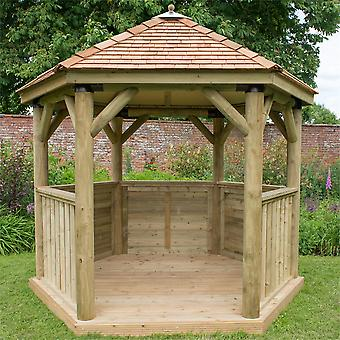 Forest Garden 3m Hexagonal Wooden Garden Gazebo with Cedar Roof