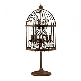 Premier hem antik fågelbur bordslampa, kristall, multi-färgade