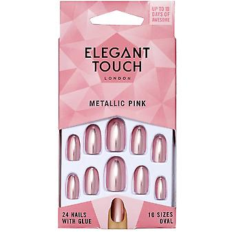 Elegant Touch Coloured Nails Collection - Metallic Pink (24 Nails)
