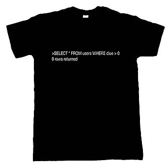 SQL Clueless Users Mens T-Shirt | Modern Art Design Illustrator Artwork Collection | IT Developer PC Computer Code Language Info Tech | Funny Guest Artist JG Gift Him Dad