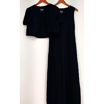 Denim & Co. Dress Sleeveless Crochet Trim Maxi W/Shrug Blue A230913