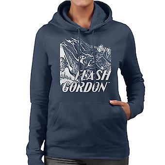 Flash Gordon Diving Sketch Women's Hooded Sweatshirt