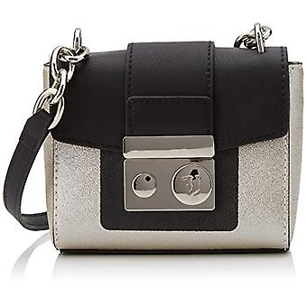 Trussardi Jeans New with Love Hunter SM EC Grey Woman Shoulder Bag (Platinum/Black) 1x13.6x15.5 cm (W x H x L)