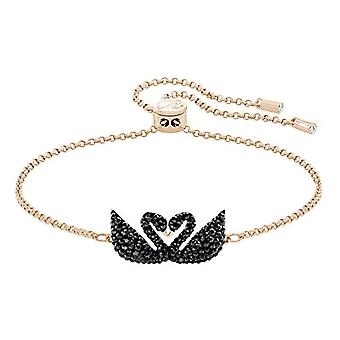 Swarovski Iconic Swan Rigid Bracelet - Black - Rose Gold Plate