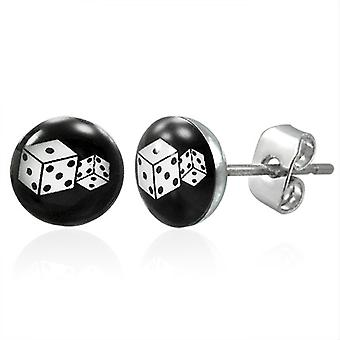 Urban Male 7mm Stainless Steel Stud Earrings with Dice Design