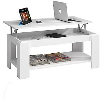 Bricohabitat Glossy White Adjustable Coffee Table With Built-In Magazine Rack
