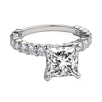 2.35 Carat H SI1 Diamond Engagement Ring 14K White Gold Solitaire w Accents 4 Prongs Amazing