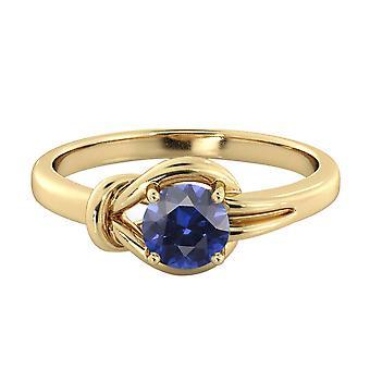 Blauer Saphir 0,50 Ctw Ring 14K Gelb Gold Knoten 4 Zinken Runde